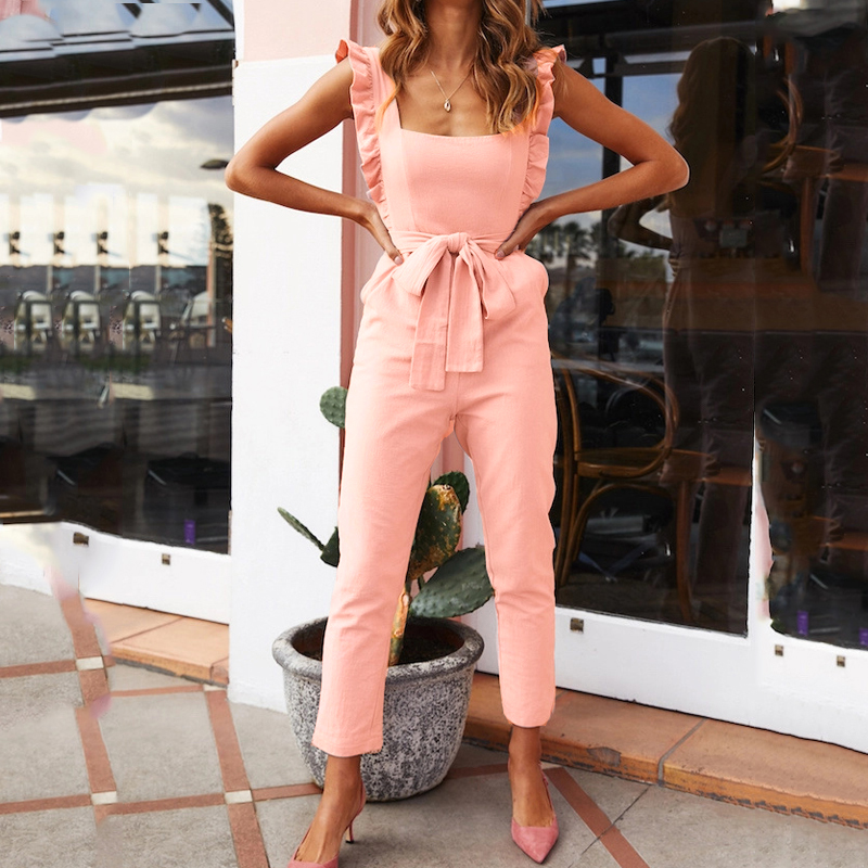 Summer casual white jumpsuits 2019 high waist   rompers   womens jumpsuit Sexy backless wooden waist belt Transparent Bodysuit women