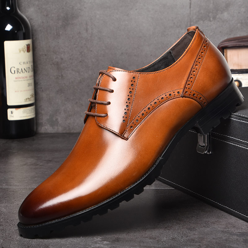 OSCO Men Genuine Leather Shoes Autumn Winter Business Dress Formal Wedding Shoes Male Breathable Pointy Luxury