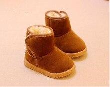 Высокое качество 2017 зимние ботинки для мальчиков и девочек зимние сапоги натуральная шерсть детские Нескользящие теплые сапоги маленьких обувь