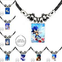 For Women Handmade Girls Sega Hedgehog Sonic Minimal Black Leather Bead Pendant Plated Glass Cabochon Choker Pendant Necklace(China)