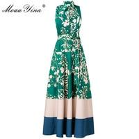 Moaayina diseñador de moda Runway Maxi vestido verano turn-Down collar sin mangas de impresión floral Fajas Delgado noble elegante vestido largo