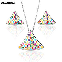 XUANHUA Stainless Steel Jewelry Sets For Women Multicolor Luxury Fashion Jewelry Indian Jewelry Set Wedding Jewelry Accessories cheap OUFEI Metal TRENDY Necklace Earrings XH0412-ST-S Party geometric acero inoxidable joyeria mujer parure bijoux femme schmuck