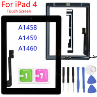 1PCS For iPad 4 A1458 A1459 A1460 Touch Screen With Home Button For iPad 4 Front Glass Display Touch Panel Replacement|Tablet LCDs & Panels| |  -