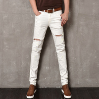 2017 Solid Mid Casual Cotton Jeans Homme New Elastic White Jeans Hole Paint Denim Pants Male Straight Slim Ripped Jeans Skinny