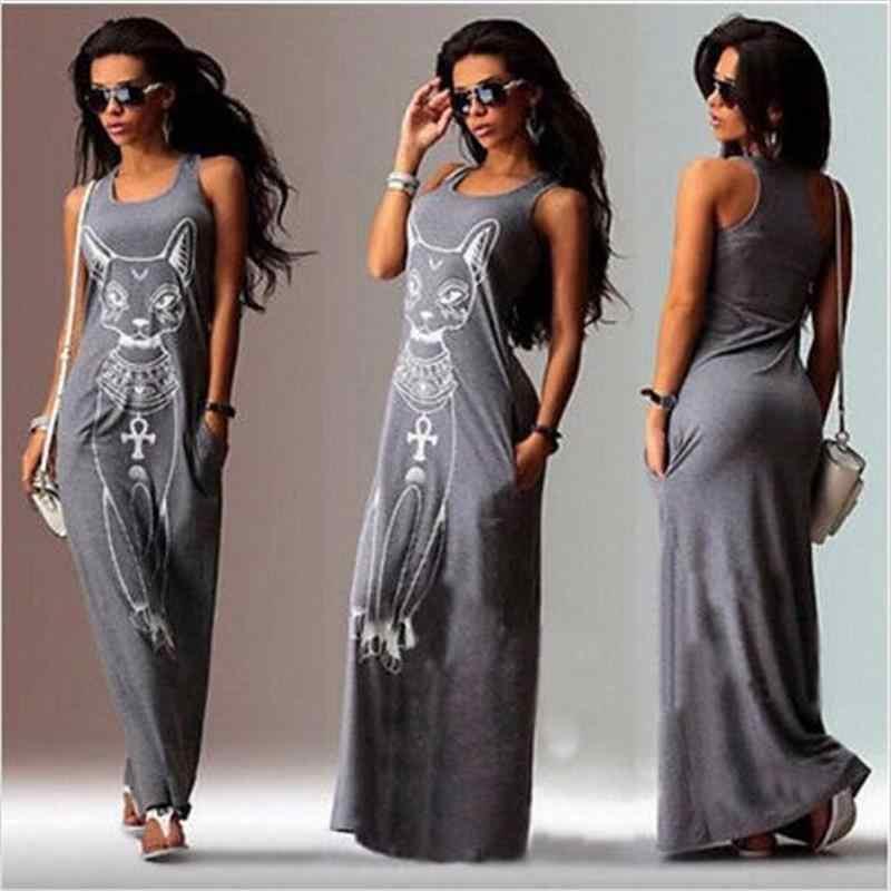 Feminino longo maxi vestido 2019 moda gato impressão bodycon vestido elegante vestidos de festa à noite túnica vestidos largos plus size