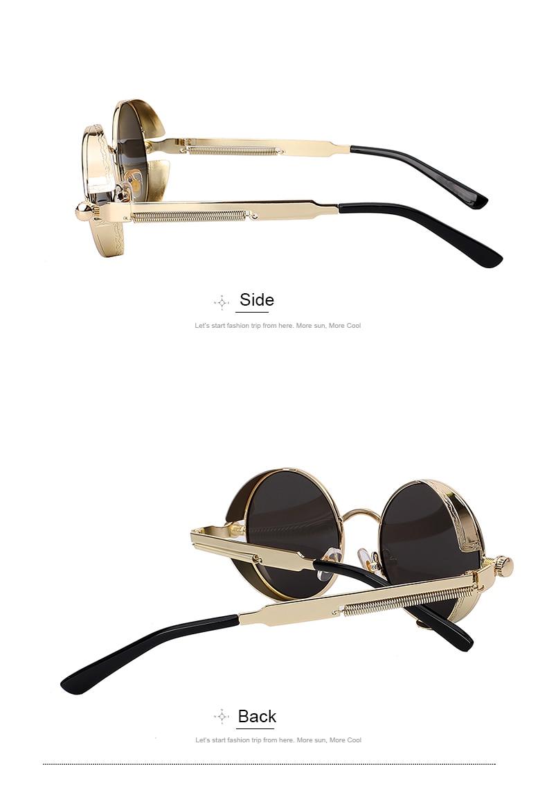 Round Retro Steampunk Metal Sunglasses - Side
