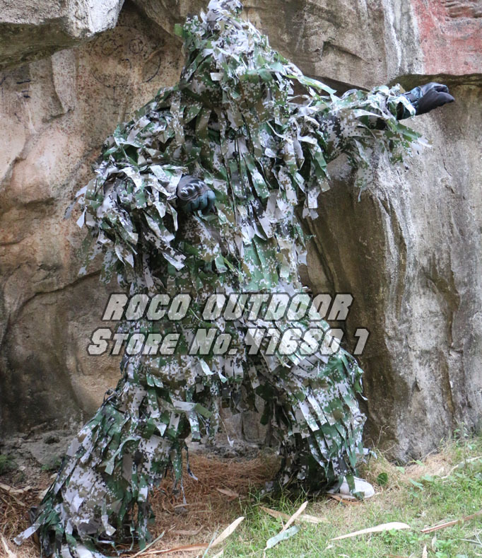ФОТО Digital Woodland Sniper Ghillie Suit Strips Lightweight CS Wargame Tactical Ghilly Suit Free Shipping