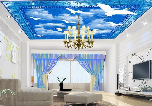 Custom 3d ceiling murals wallpaper for walls for ciling bedroom Blue sky  and white clouds non. Aliexpress com   Buy Custom 3d ceiling murals wallpaper for walls