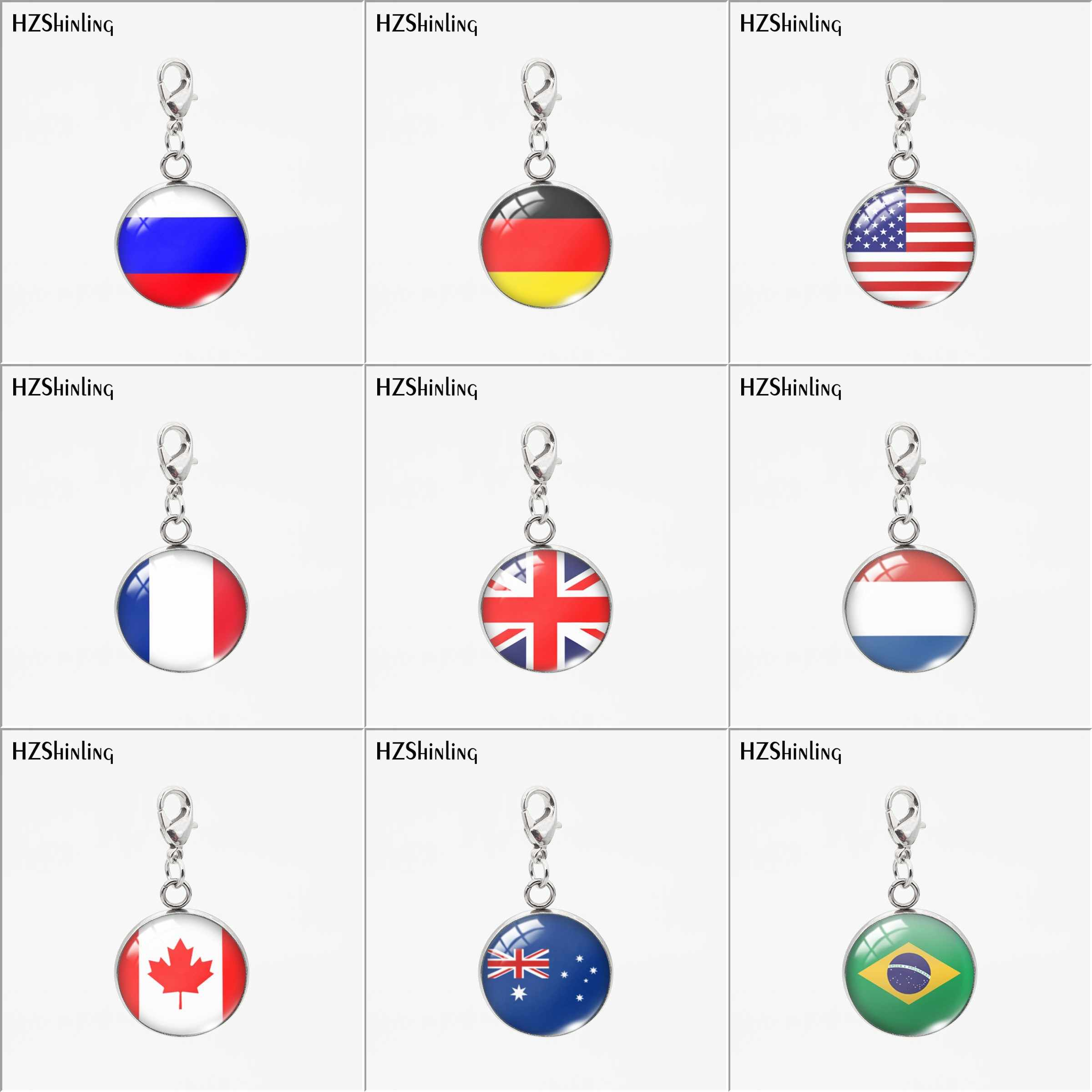 Personalizado Nova Moda Bandeira Do País EUA Rússia Encantos Rodada Pingentes De Vidro Redonda de Aço Inoxidável Destacável Colar ou Chaveiro