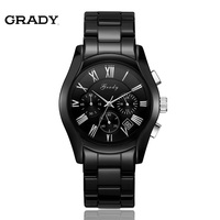 Grady 3 Eye Chronograph High Tech Ceramic Men Wristwatches YC13011 Free Shipping