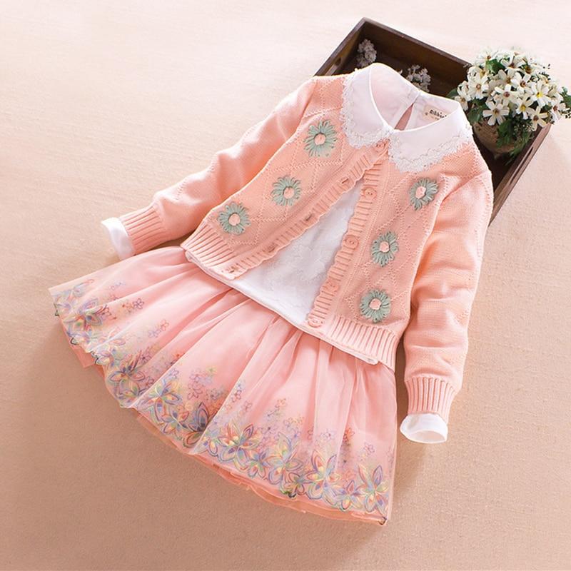 Enfants filles ensembles 2017 printemps automne hiver fleur coton à manches longues fille boutique tenues 3 pièces princesse enfants vêtements 4-10 T - 3