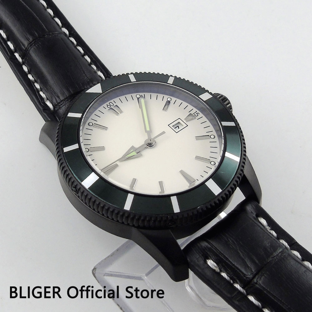 BLIGER 46MM Relojes Hombre 2018 White Sterile Dial Green Bezel Black PVD Case MIYOTA Automatic Movement Men's Watch Relogio BI19