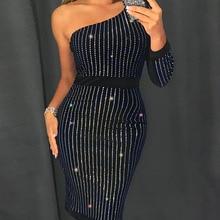 02d663f0 2019 Women Elegant Stylish Sexy Shinny Black Cocktail Midi Party Dress  Glitter One Shoulder Stud Detail