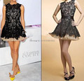 2015 new Arrival Black Short Mini Lace Celebrity Dresses Appliques Sleeveless Prom Dresses