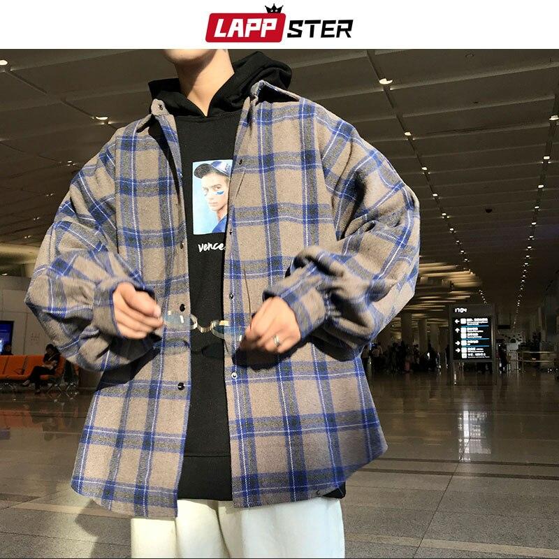 LAPPSTER Men Harajuku Color Block Plaid Shirt 2019 Mens Streetwear Thick Shirts Long Sleeve Male Vintage Korean Fashions Clothes