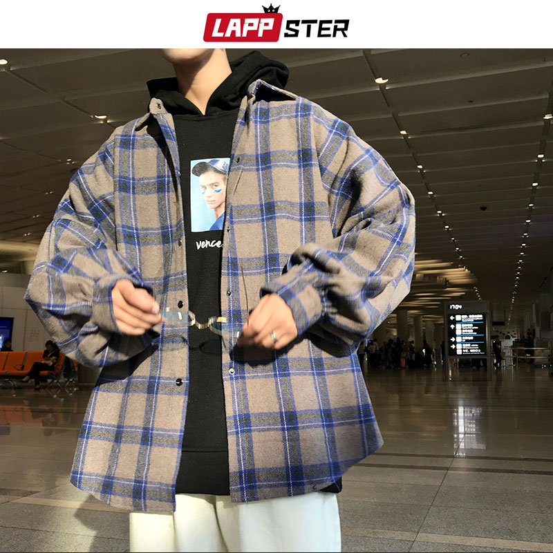 LAPPSTER Men Harajuku Color Block Plaid Shirt 2020 Mens Streetwear Thick Shirts Long Sleeve Male Vintage Korean Fashions Clothes