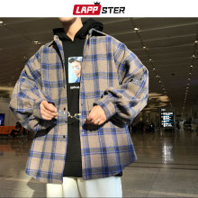 Plaid Shirt Color-Block Long-Sleeve Harajuku LAPPSTER Mens Streetwear Vintage Male Thick