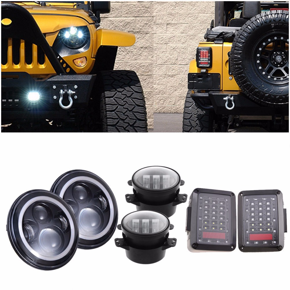 40W Headlamp 7'' inch LED Halo Ring Daymaker Headlight Rear Tail Lights with 4'' Fog Light for Jeep Wrangler JK L21 1 set black projector headlight 7 inch auto headlamp with halo ring for jeep wrangler unlimited rubicon sahara jk harley