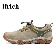 Ifrich Trekking Shoes Men Outdoor Sneakers Black/Brown Mountain Climbing Sneakers Spring/Autumn Man Trekking Shoes