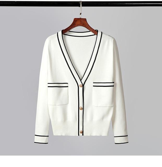 Baharcelin Black White Sweater Jacket Women Cardigan Knitted Sweater