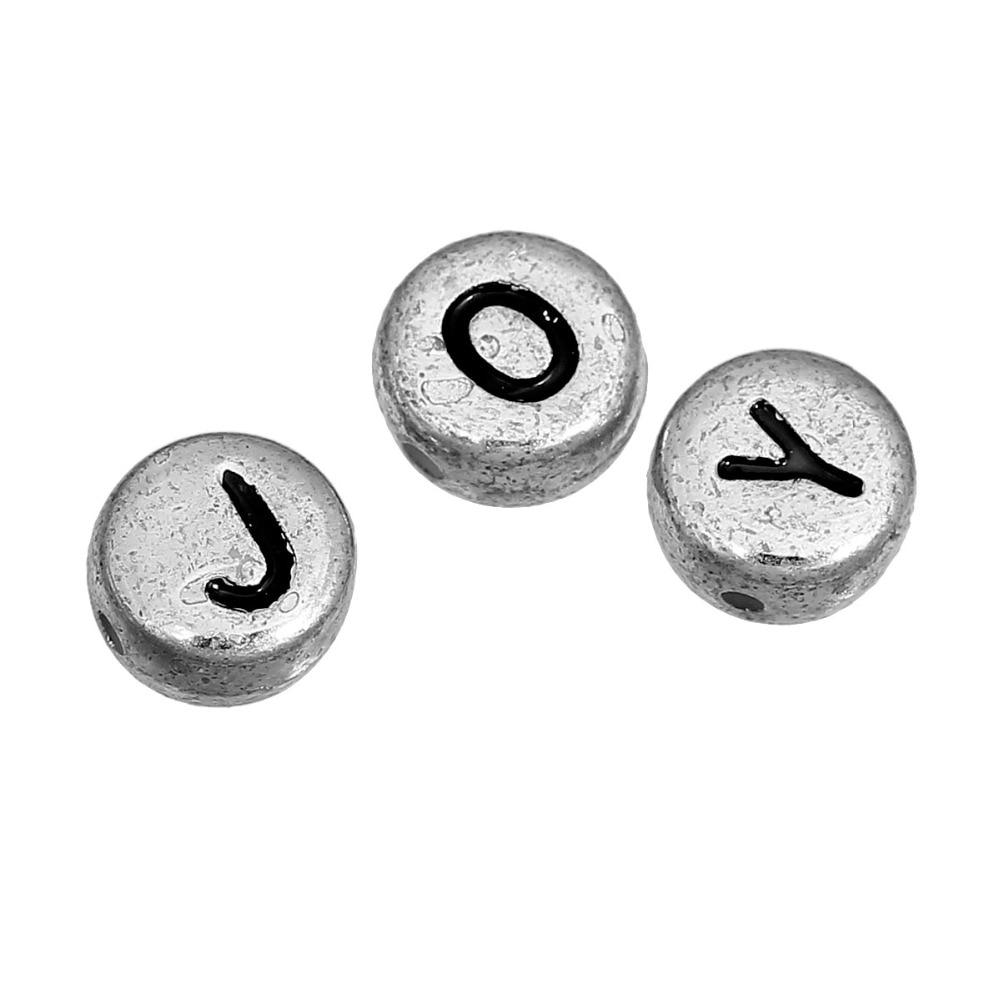 Plat rond Argent Numéros Acrylique Perles environ 7 mm