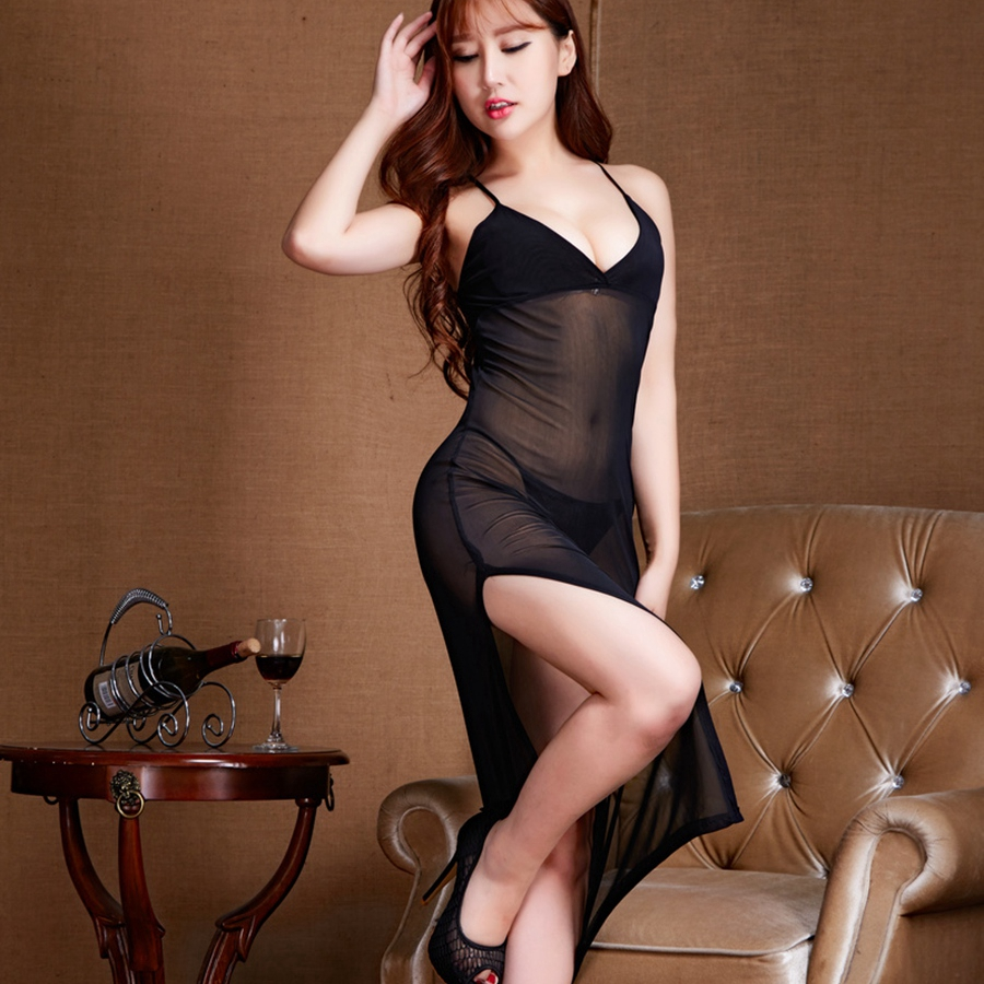 Ladies Long Gowns Black Womens Clothing Lingerie Porno Ropa Sexy Para El Sexo Night Gown Night Dress Sexy Sleepwear See Though