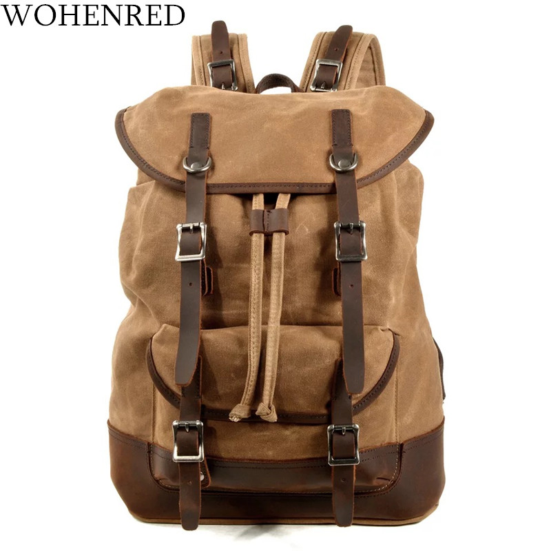 WOHENRED Men Canvas Backpack Leather Laptop Bags Waterproof Traveling Rucksack Male Large Capacity Vintage Daypack MochilasWOHENRED Men Canvas Backpack Leather Laptop Bags Waterproof Traveling Rucksack Male Large Capacity Vintage Daypack Mochilas