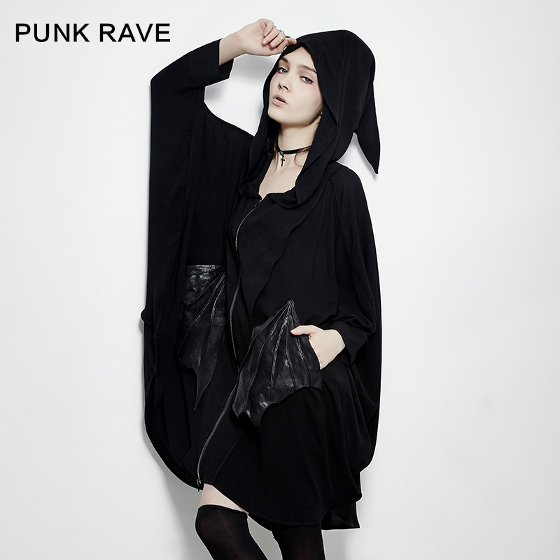 PUNK RAVE 2017 new design punk style cool women hoodie with batwing sleeeve sweatshirts PY-178