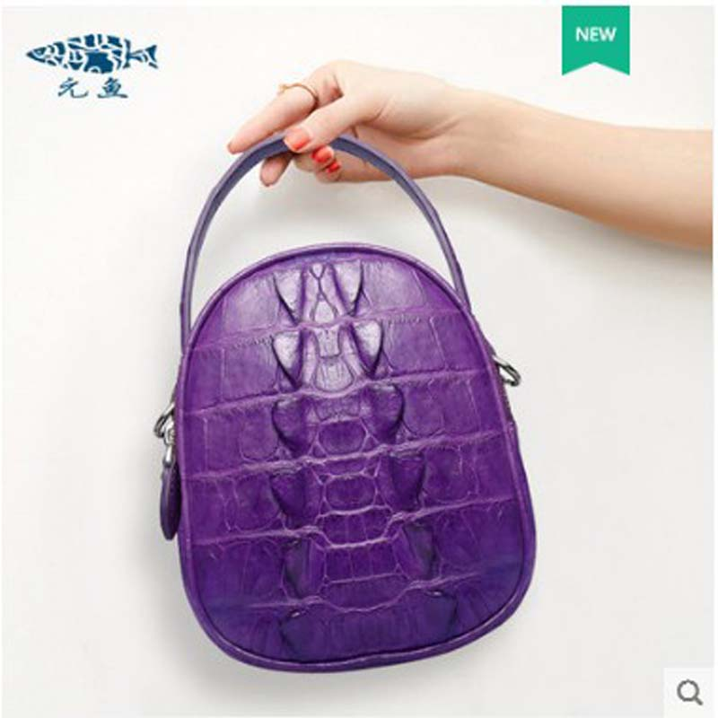 Bolso de mujer de cuero de cocodrilo yuanyu de cuero genuino importado de Tailandia bolso de cocodrilo solo bolso de hombro pequeño bolso redondo - 3