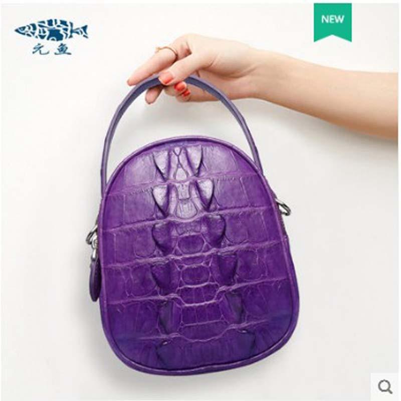 Yuanyu saco da senhora de couro de Crocodilo couro genuíno importado da Tailândia bolsa de crocodilo bolsa de ombro único pequeno saco rodada - 3