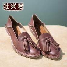 2016 handmade women's shoes genuine leather flat bottom pointed toe tassel vintage sheepskin shoes