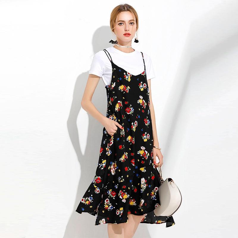 2017Summer Ladies clothes set asymmetrical printed strap dress+white t shirt tank Dress casual vestido twinset Plus size 5XL6963