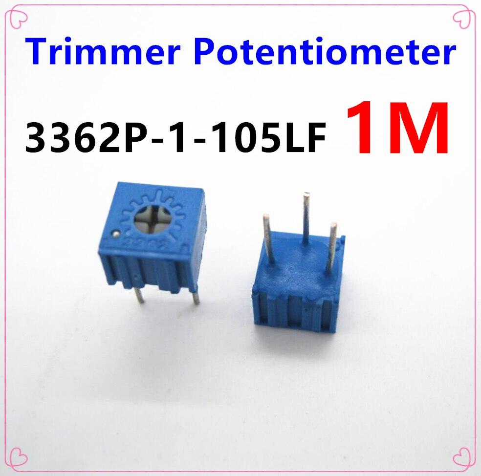 Free Shipping 15PCS Trimmer Potentiometer 3362P 1M 105 Adjustable Resistors 3362 105 Variable Resistors 1M Ohms