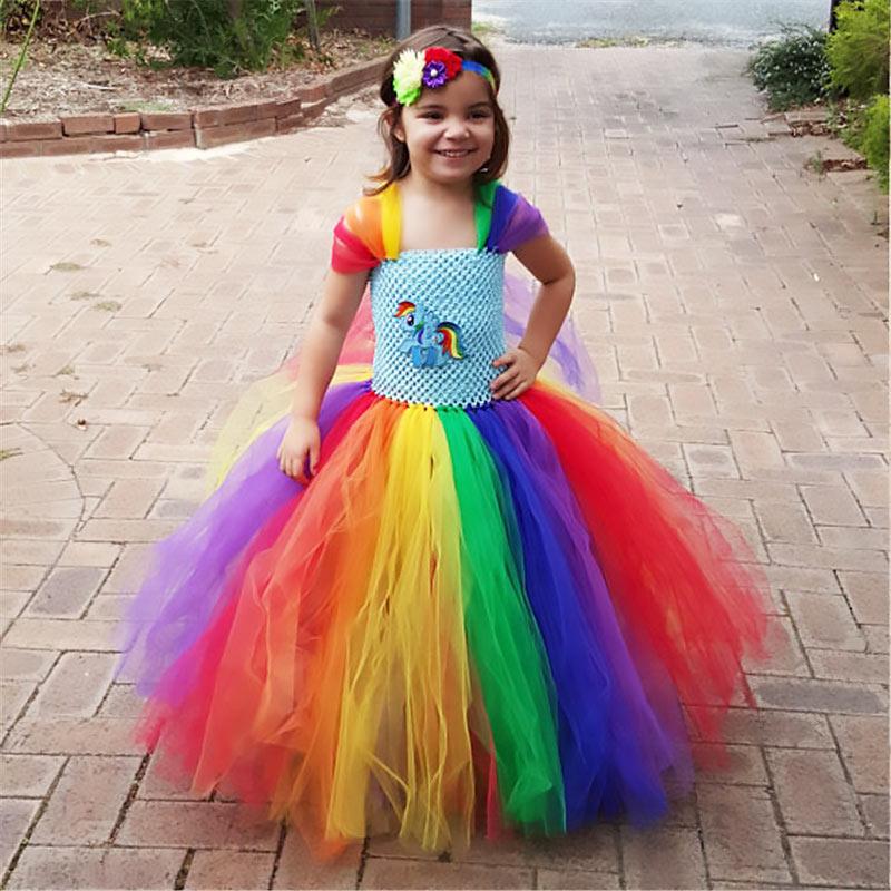 Hot Sell Flower Girls Tutu Dress Little Pony Rainbow Princess Birthday Party Dresses Kids Halloween Cartoon Costume 1-12Y