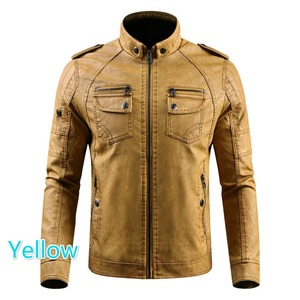 Image 3 - Men PU Leather Jacket 2020 New Autumn Winter Mens Thick Casual Warm Stand Collar Zipper Coats Male Fashion Motorcycle Jackets