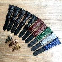 AP kayış 28mm Siyah Mavi Gri Yeşil Kahverengi Dikişli Hakiki Deri saat kayışı Bilezik çelik dağıtım toka