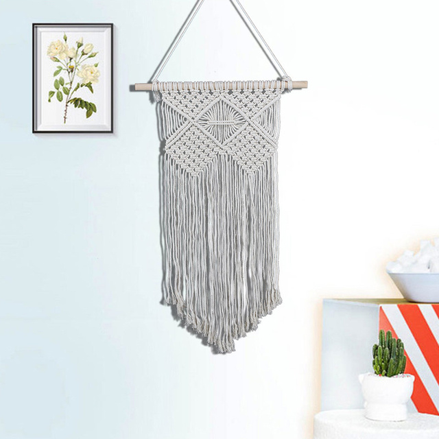 100% Hand-knit Solid Color Cotton Yarn Wall Tapestry Craft Curtain Hanging Decor Wedding Background Decoration
