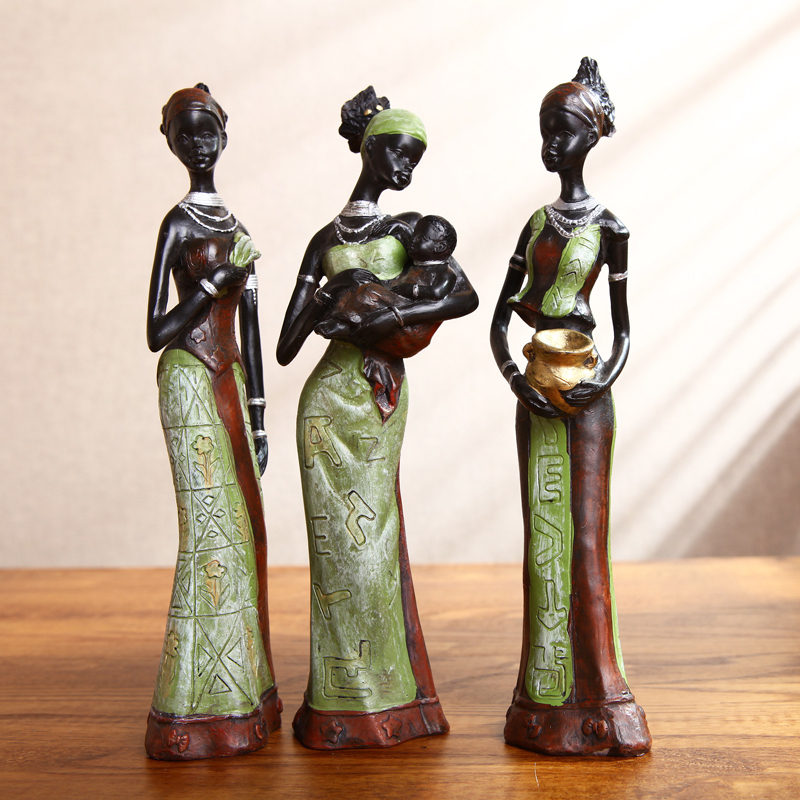 Aliexpress Com Buy 3pcs Set Fashion Exotic Resin African Woman Family Statue Figurines 6 5 20cm Green People Ornaments Accessories Craft Gift From