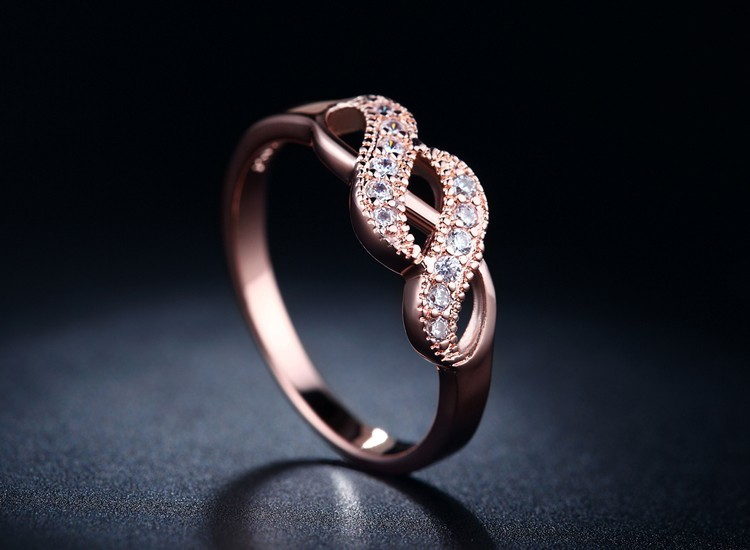 Pink Rose Gold 585 Plated Infinity Ring