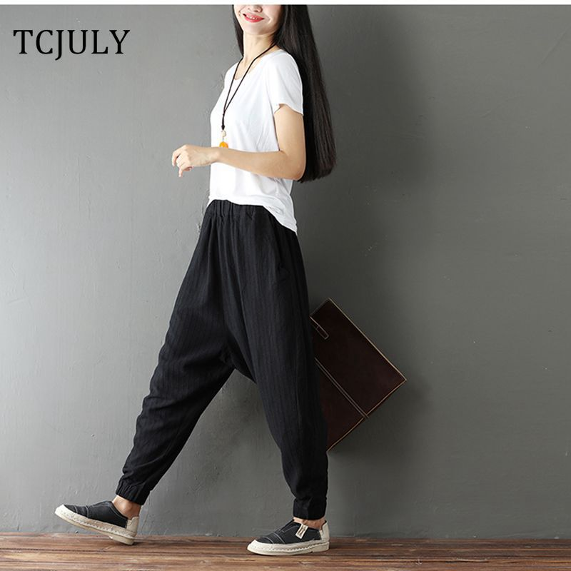 TCJULY Summer Fashion Plus Size Cotton Linen   Pants   Women Wide Leg Trousers Striped Harem   Pants   Ladies Baggy   Pants   Palazzo   Capris
