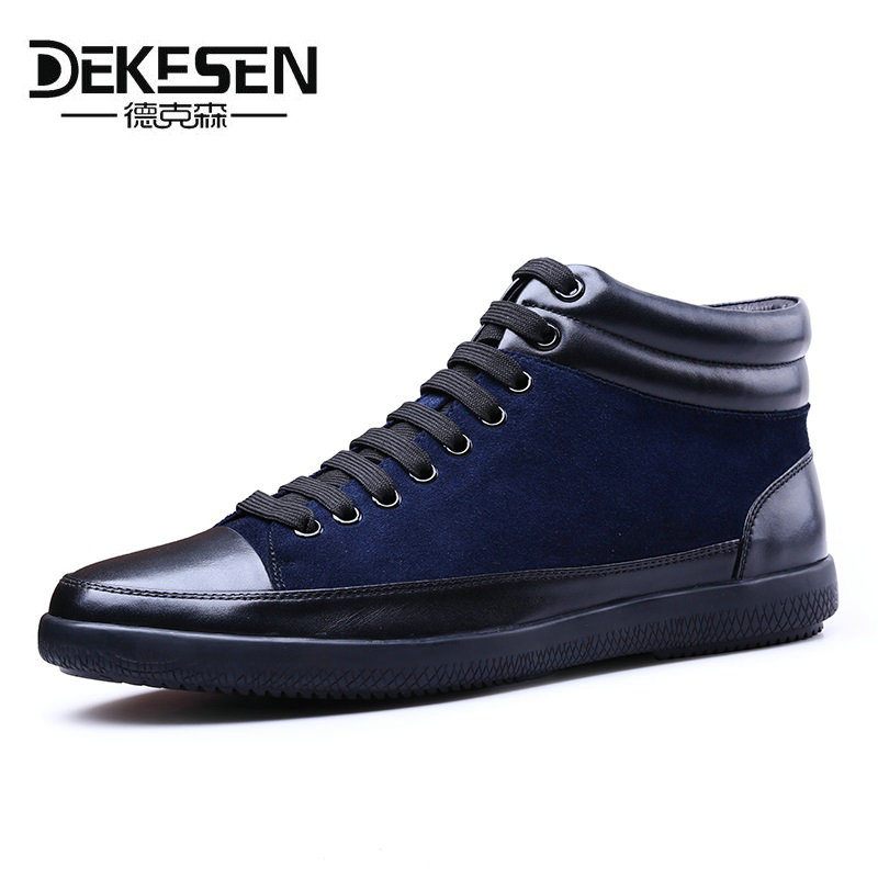 Dekesen Men Shoes 2018 High Top Fashion New Front Lace-Up Casual Shoes Ankle Boots Autumn Shoes for Men Genuine Leather Footwear xiaguocai spring autumn high top men shoes fashion canvas men s casual shoes lace up flat ankle boots for male