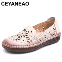 b86ef15b9 CEYANEAO Fit Wide Foot Handmade Genuine Leather Flat Shoes Women Summer  Shoes Lady Loafers Breathable Soft