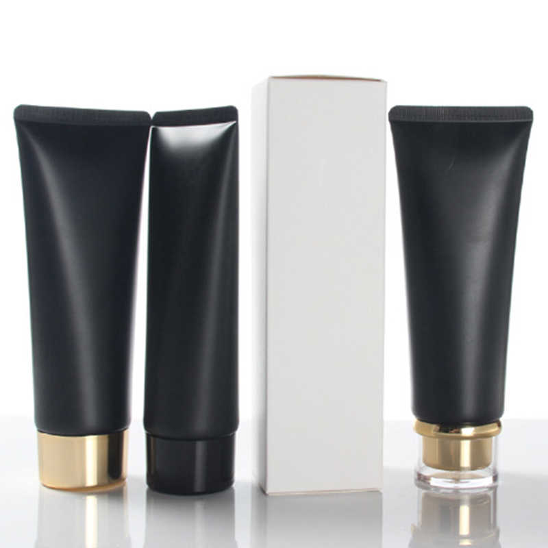 Empty Portable Travel Tubes Squeeze Cosmetic Containers Cream Lotion Plastic Bottles 100ml Black Cosmetic Refillable Bottles