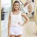 Nueva moda blusas de las señoras de o-cuello sin mangas del verano moldeado elegante gasa tops s-xl del tamaño extra grande blanco 36