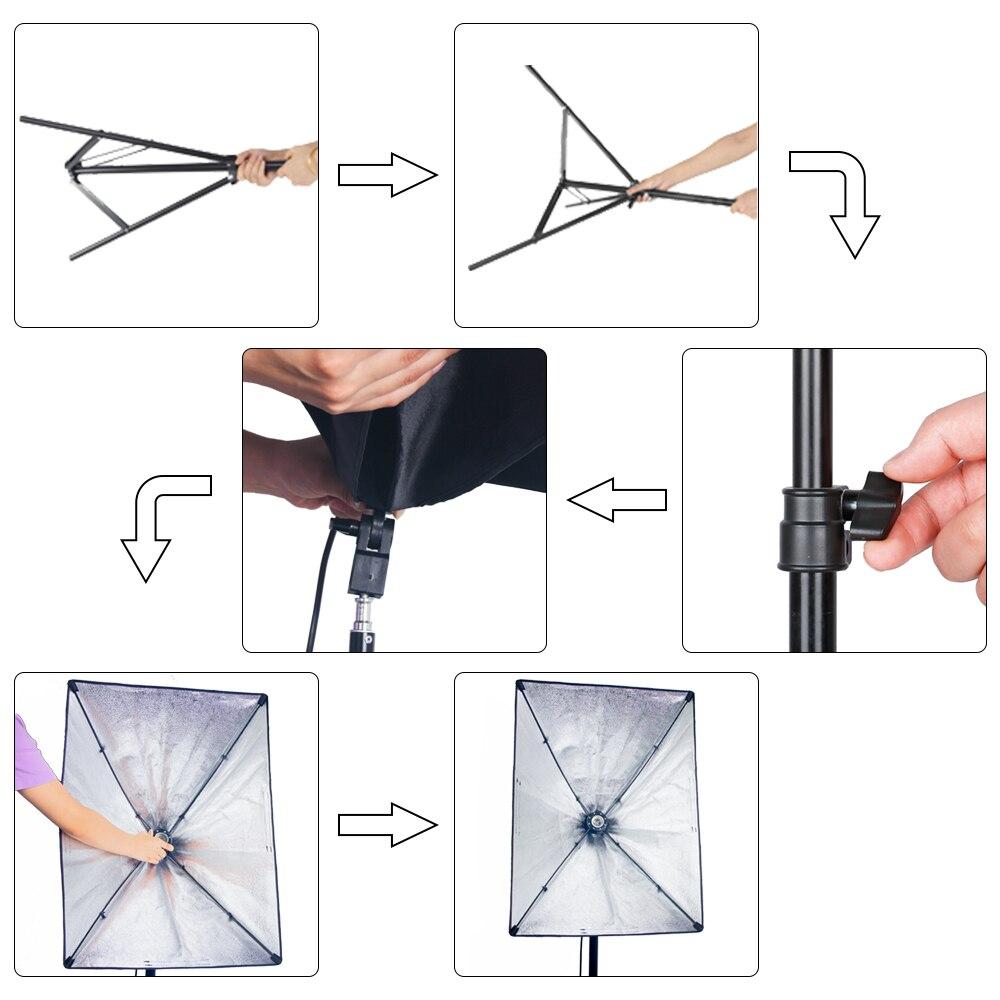 Softbox de photographie professionnelle avec Kit d'éclairage à douille E27 pour Portraits de Studio Photo, photographie et prise de vue vidéo - 6