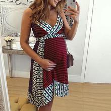 Women Summer Fashion Maternity Printed Sling Pregnant  Bohemian Style Dress