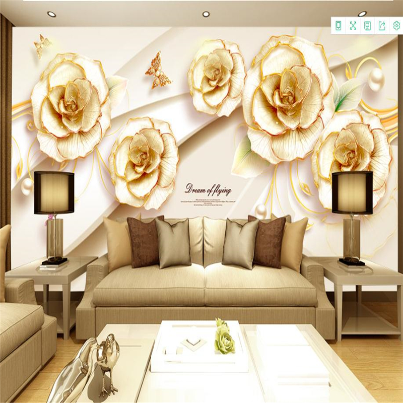 Gold Flower Mural Wallpaper 3D Luxury Butterfly Bedroom Living Room Wall Decors