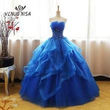 Fashion Luxe Kant Blauw Champagne Quinceanera Dress Ruches Crystal Organza Vestidos De 15 Debutante Gown Bohemen Prinses