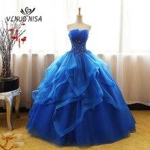 패션 럭셔리 레이스 블랙 블루 샴페인 Quinceanera 드레스 Ruched 크리스탈 Organza Vestidos 드 15 데뷔 테 가운 보헤미아 공주
