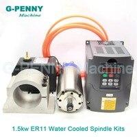 220V1. 5KW ER11 ЧПУ с водяным охлаждением двигателя шпинделя водяное охлаждение и 1.5kw VFD/инвертор и 80 мм Шпиндельный зажим и 75 Вт водяной насос